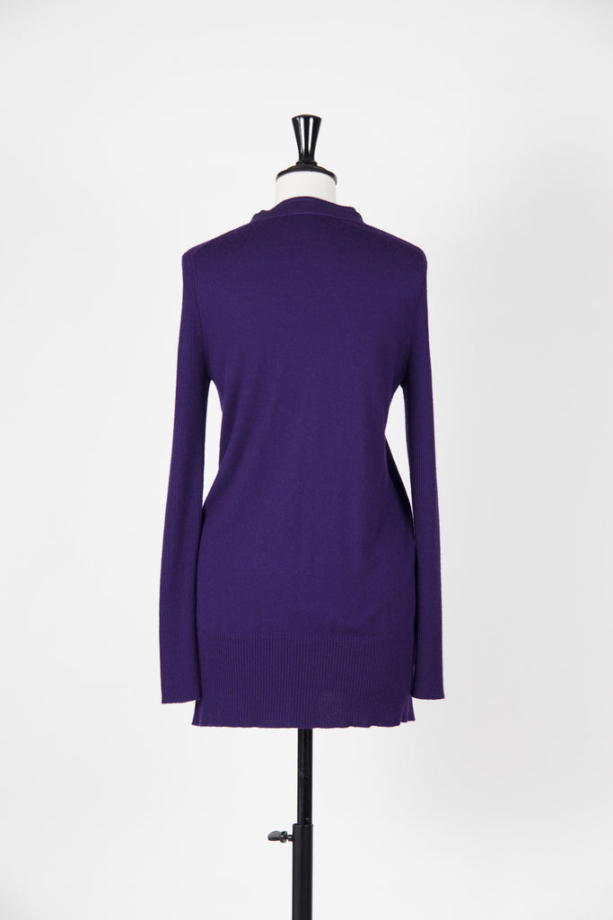 Cashmere and Silk satin-trim cardigan by Vivienne Tam