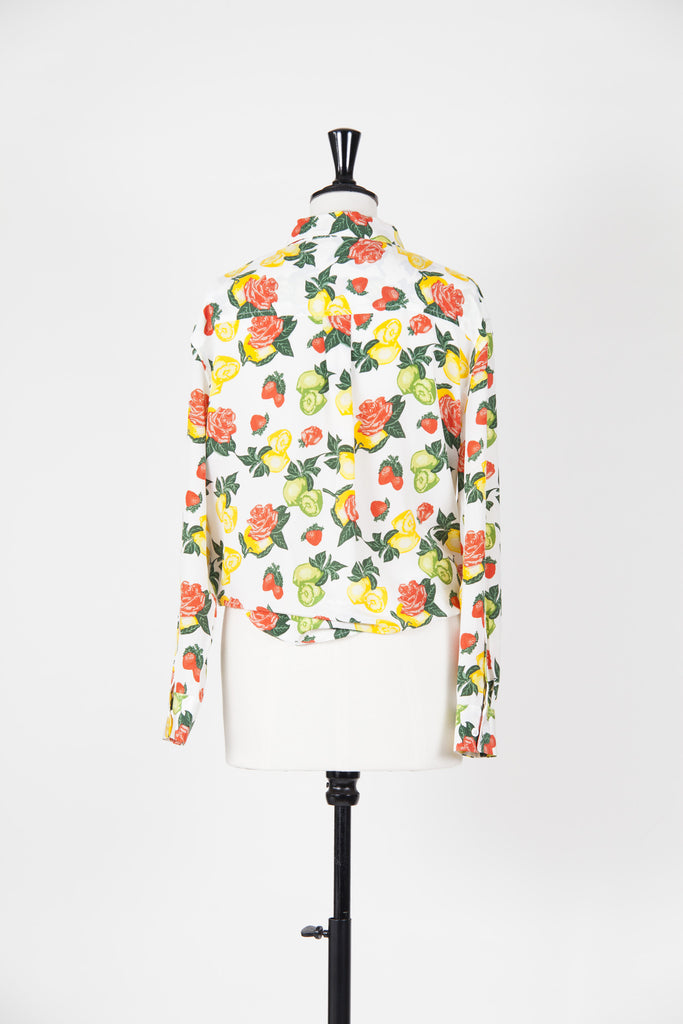 Fruit and roses print tie-front Daddy shirt by Equipment