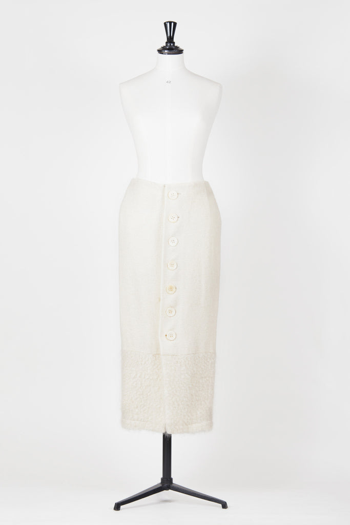 Long knitted skirt with textured band by Christian Dior