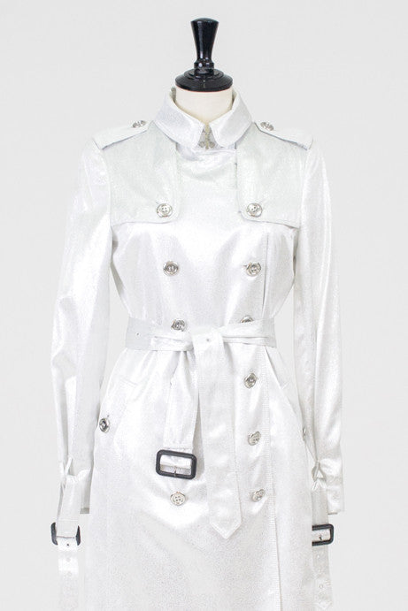Belted silver trenchcoat by Burberry