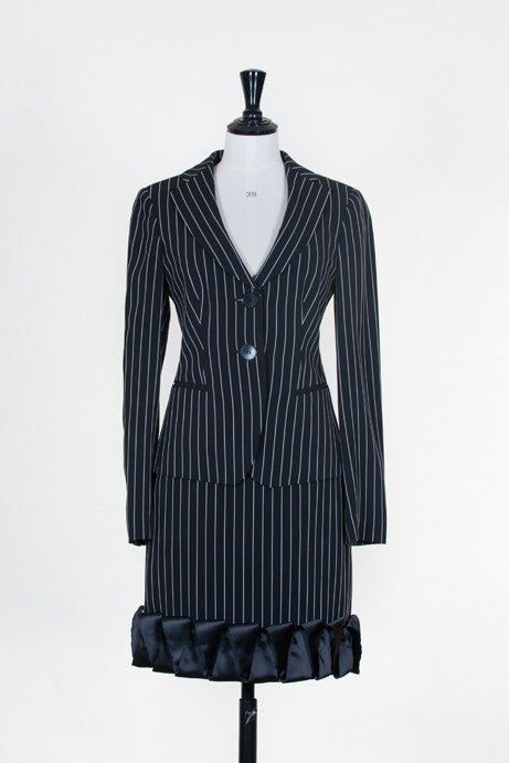 Pin striped frilled skirt suit by Emporio Armani