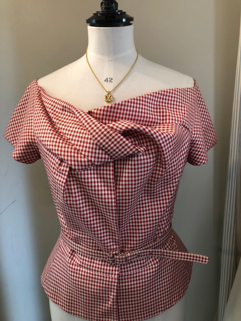 Gingham Silk Bodice Top by Christian Dior