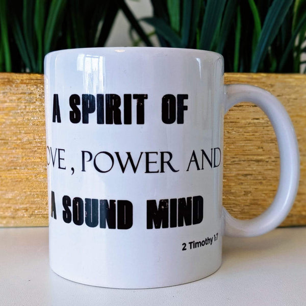 Custom - Love, Power and A Sound Mind Male Mug