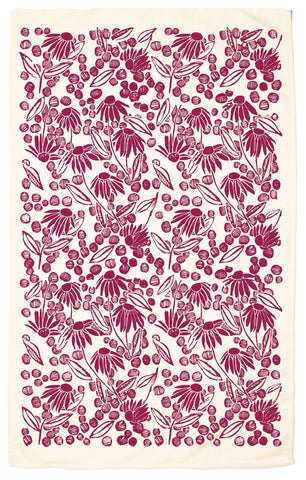 Coneflower Organic Kitchen Towel - Beet Red