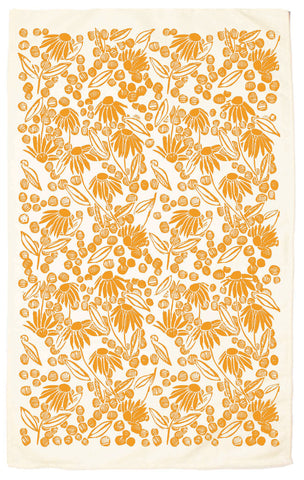 Coneflower Organic Kitchen Towel - marigold