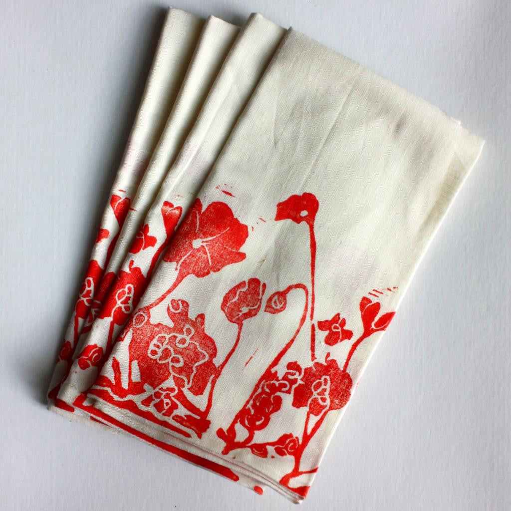 Pressed Flowers Napkin Poppy