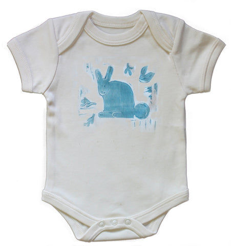 Organic Rabbit Onesie in pale blue