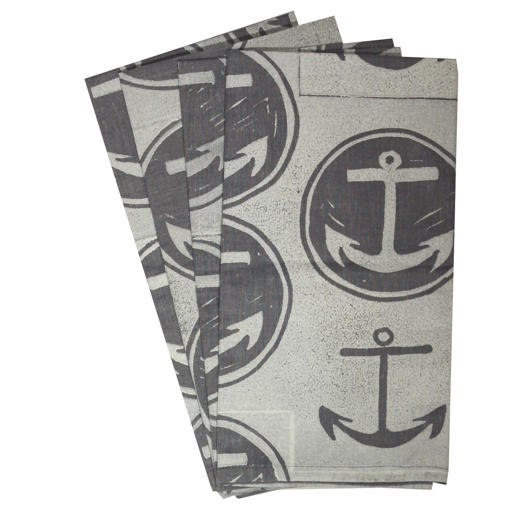 Organic Anchor Napkins in White on Blue