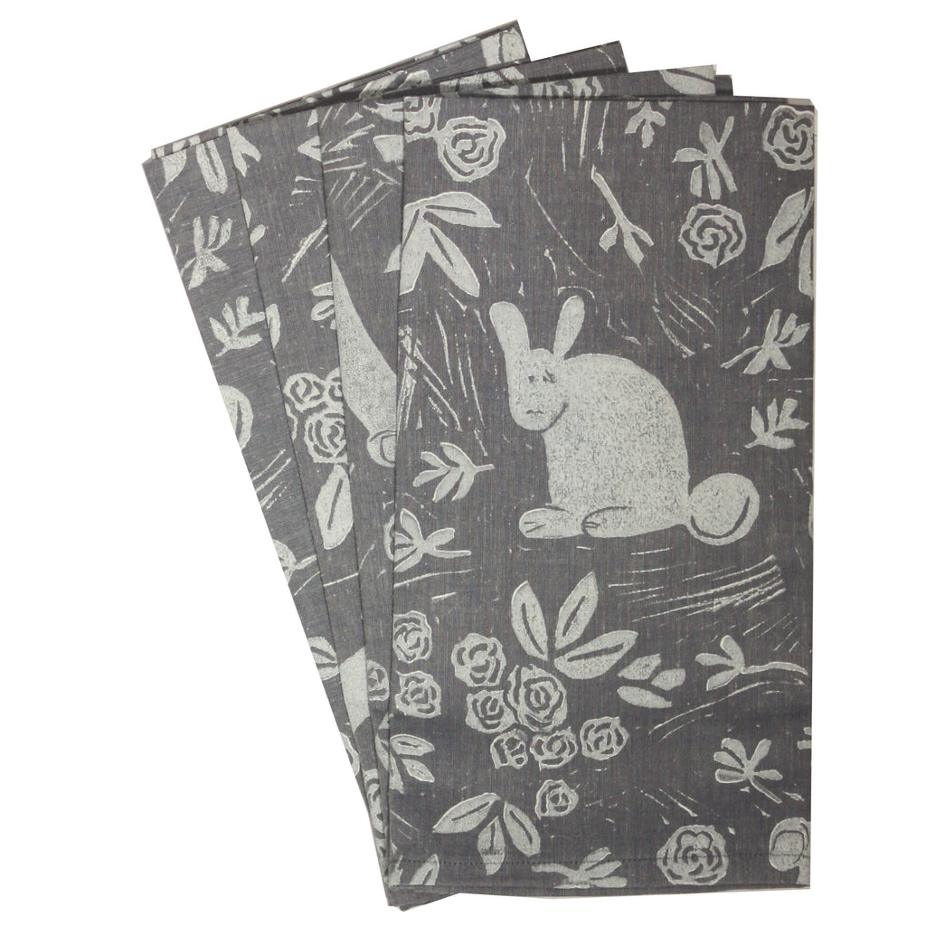 Rabbit Napkins in white on blue