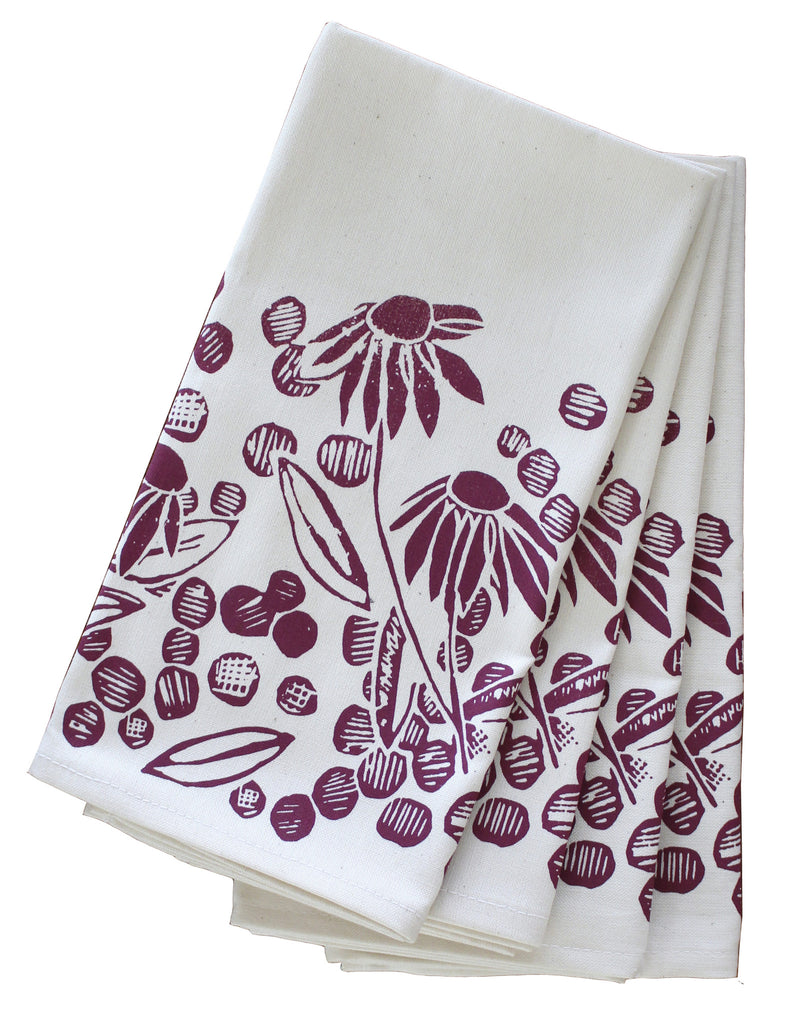 Coneflower Organic Napkin Set - Beet Red