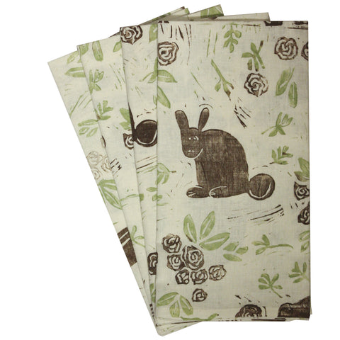 Organic Rabbit Napkins in soft green and chocolate