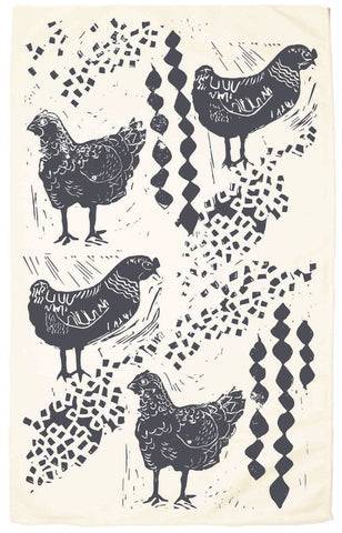 Chickens Organic Kitchen Towel - Charcol