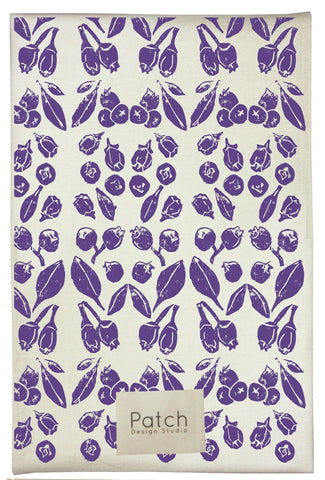 Blueberry Organic Kitchen Towel - plum