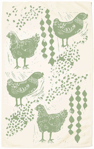 Chicken Organic Kitchen Towel - Sage Green