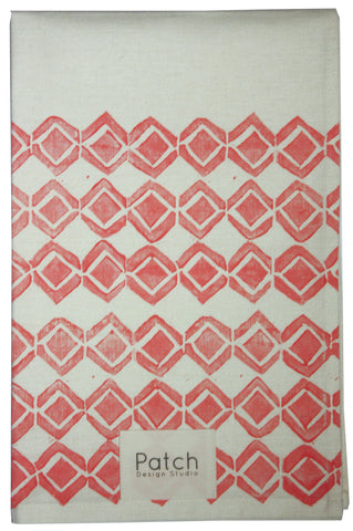 Diamond Organic Kitchen Towel - Flamingo Pink