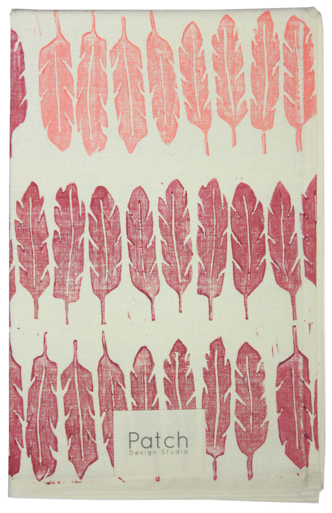Feather Organic Kitchen Towel - Beet Red and Flamingo Pink