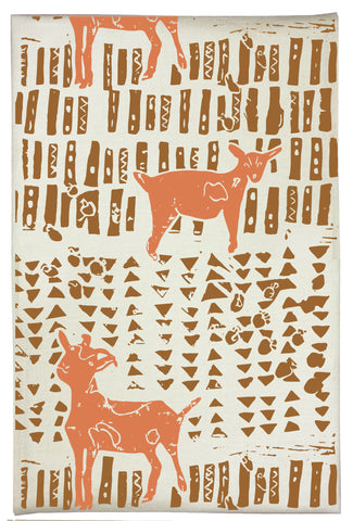 Goat Organic Kitchen Towel - Acorn Brown & Carrot Orange