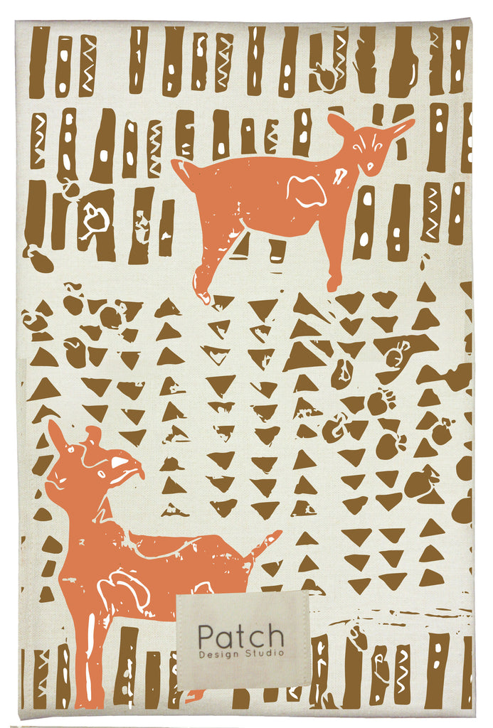 Goat Organic Kitchen Towel - carrot orange & acorn