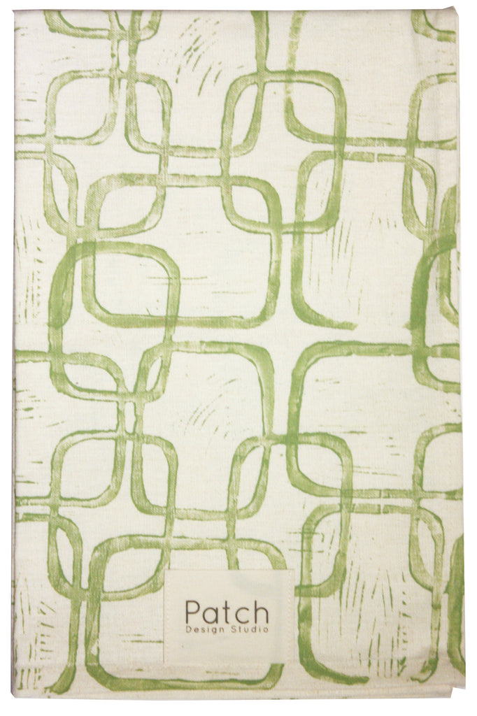 Squares Organic Kitchen Towel - Soft Green
