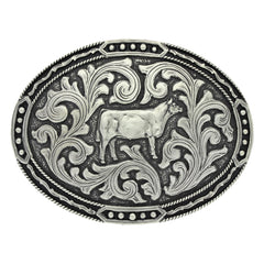 A694S Antiqued Classic Show Heifer Attitude Buckle by Montana Silversmiths