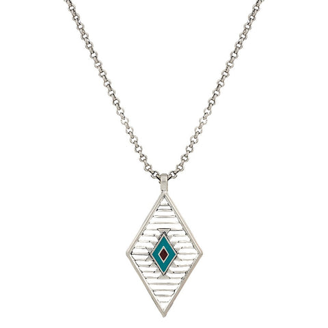 NC2659R47 Points of Aztec Wired Diamond Shaped Necklace by Rock 47