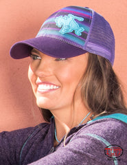 Purple Serape Trucker Cap With Buckin' Horse Patch (F00417)