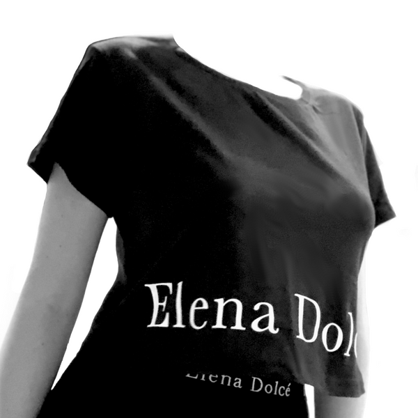 Elena Dolce Crop Top | T-Shirt - Black
