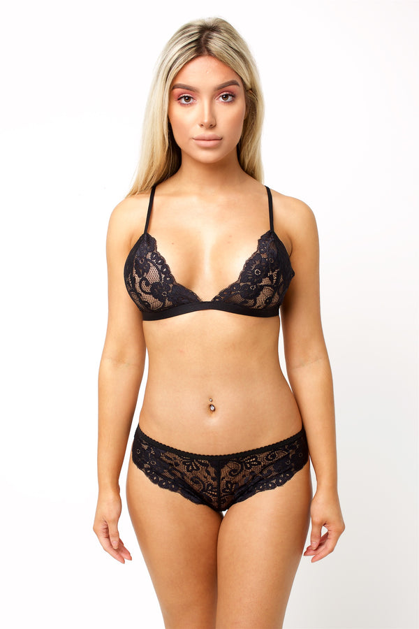 Violet - No Elastic Lace Brazilian Brief