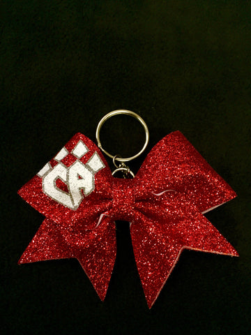 Red Sparkle Keychain Bow