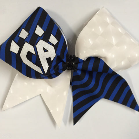 Blue & Black Stripe Bow
