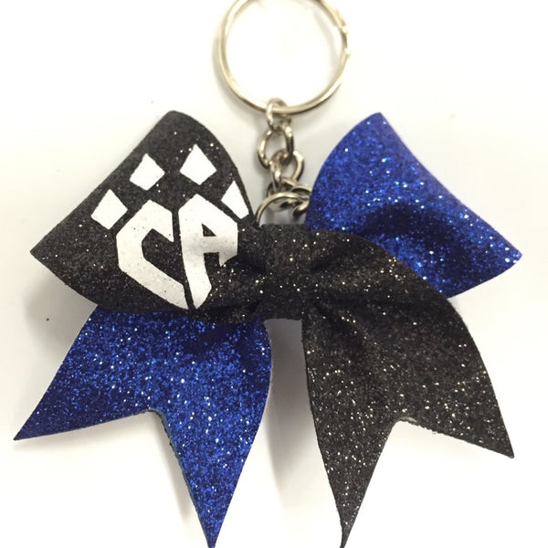 Blue and Black Sparkle Keychain Bow