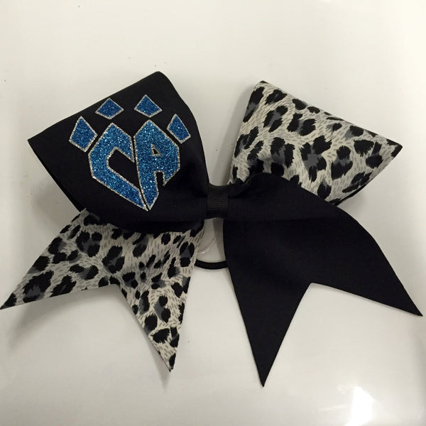 Tick Tock Grey Cheetah Bow