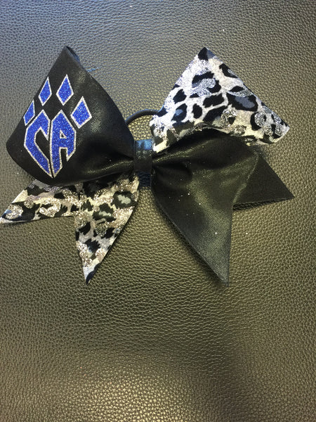 Limited Edition Black and Grey Velvet Cheetah Bow