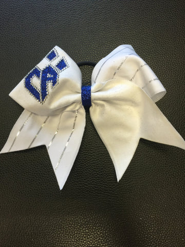 Limited Edition White Silver Pinstripe Bow