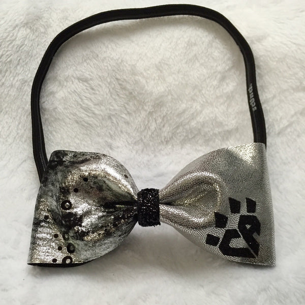Black and Silver Abstract Bow Headband