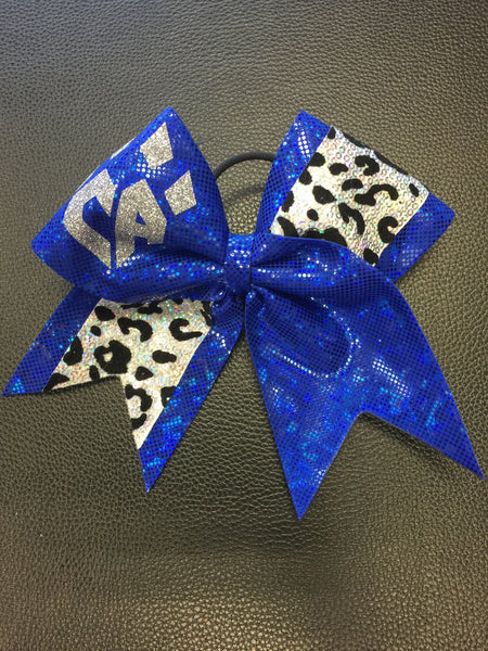 Limited Edition Blue and Silver Cheetah Print Bow