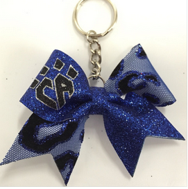 Blue Cheetah Mesh Keychain Bow