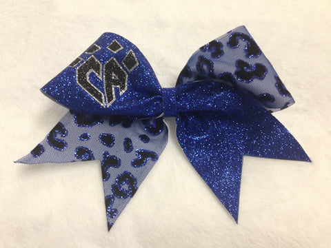 Blue Cheetah Mesh Bow