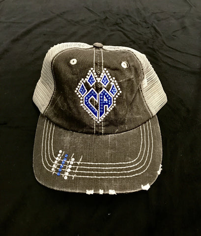 Grey Trucker Hat with Bling Claw