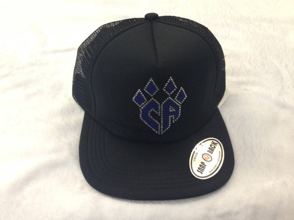 Black Flat Bill Hat w/bling