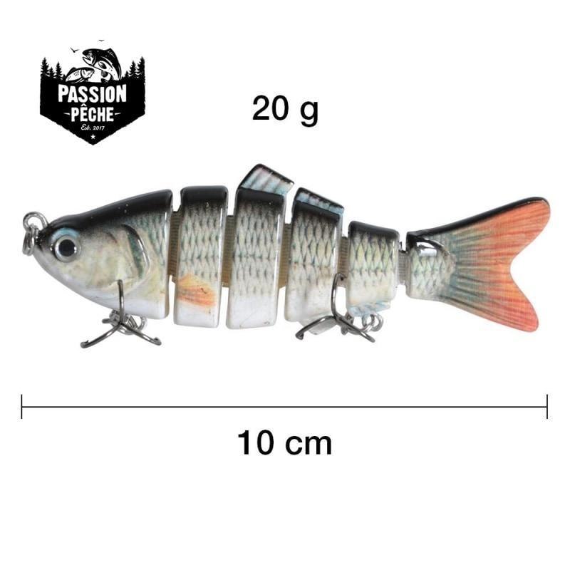 Leurre dur Swimbait 6 Segments 10cm/20g 3D