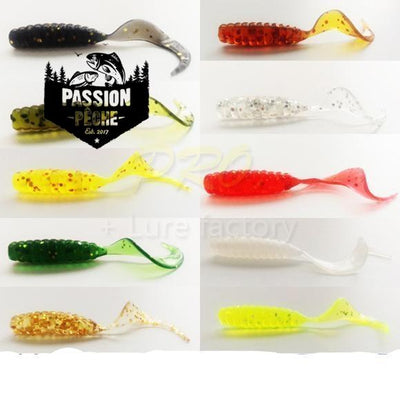 Lot de 100 Mini Grub Tail 4cm/0.7g - peche au leurre