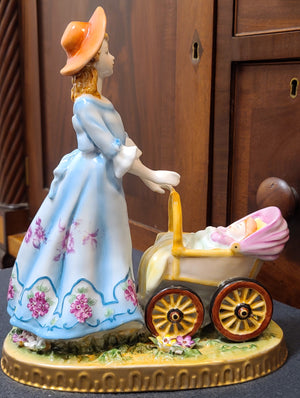 Authentic German Dresden figurine mother with baby stroller