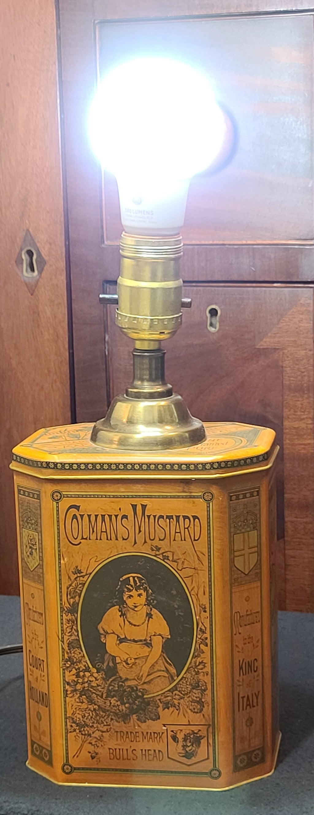 Vintage Colman Mustard tin lamp conversion