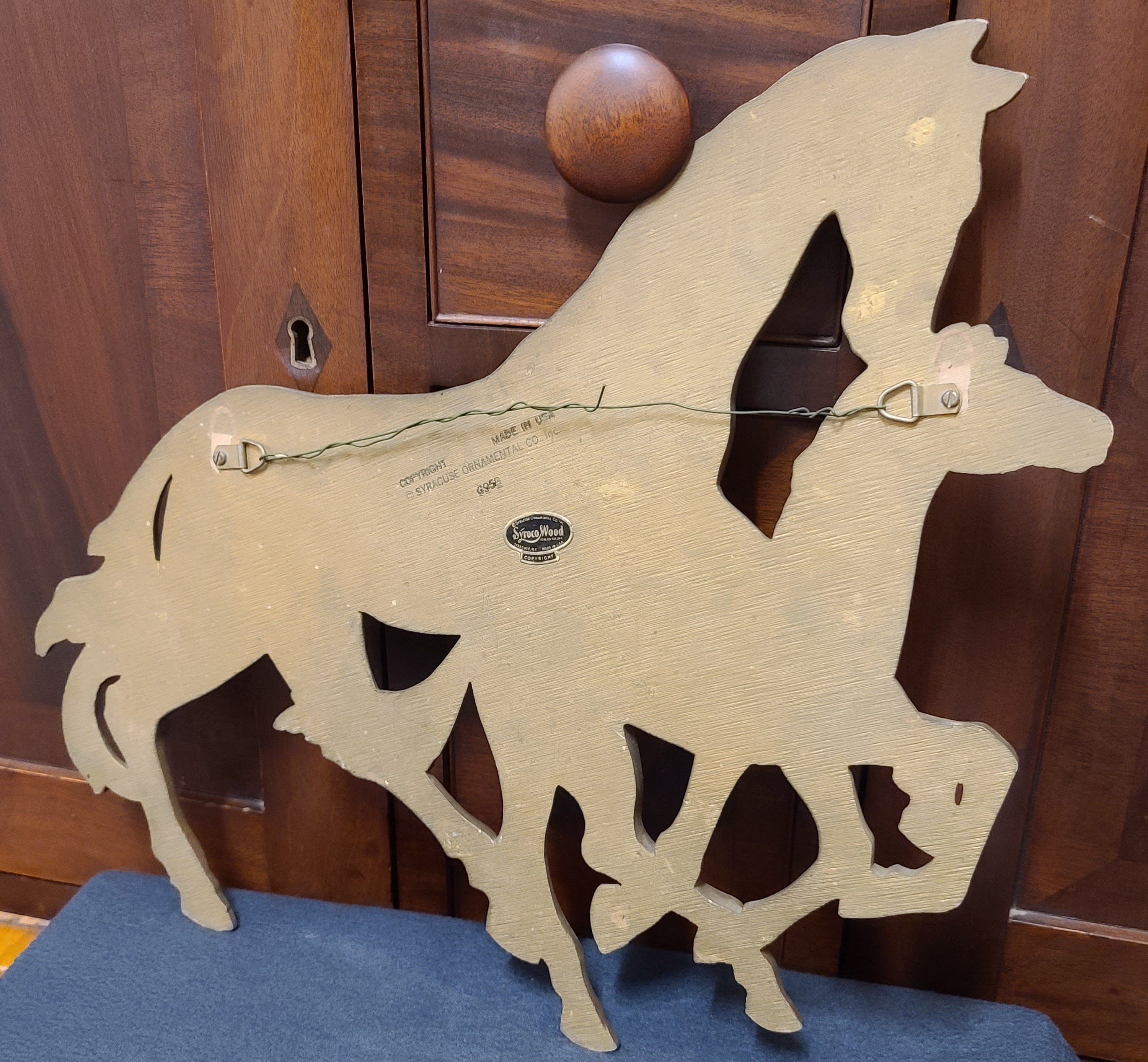 Syroco Wood wall sculpture, golden horses