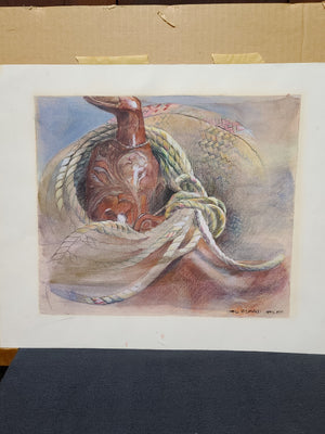 April McDonald signed original pencil on paper, saddle and tack