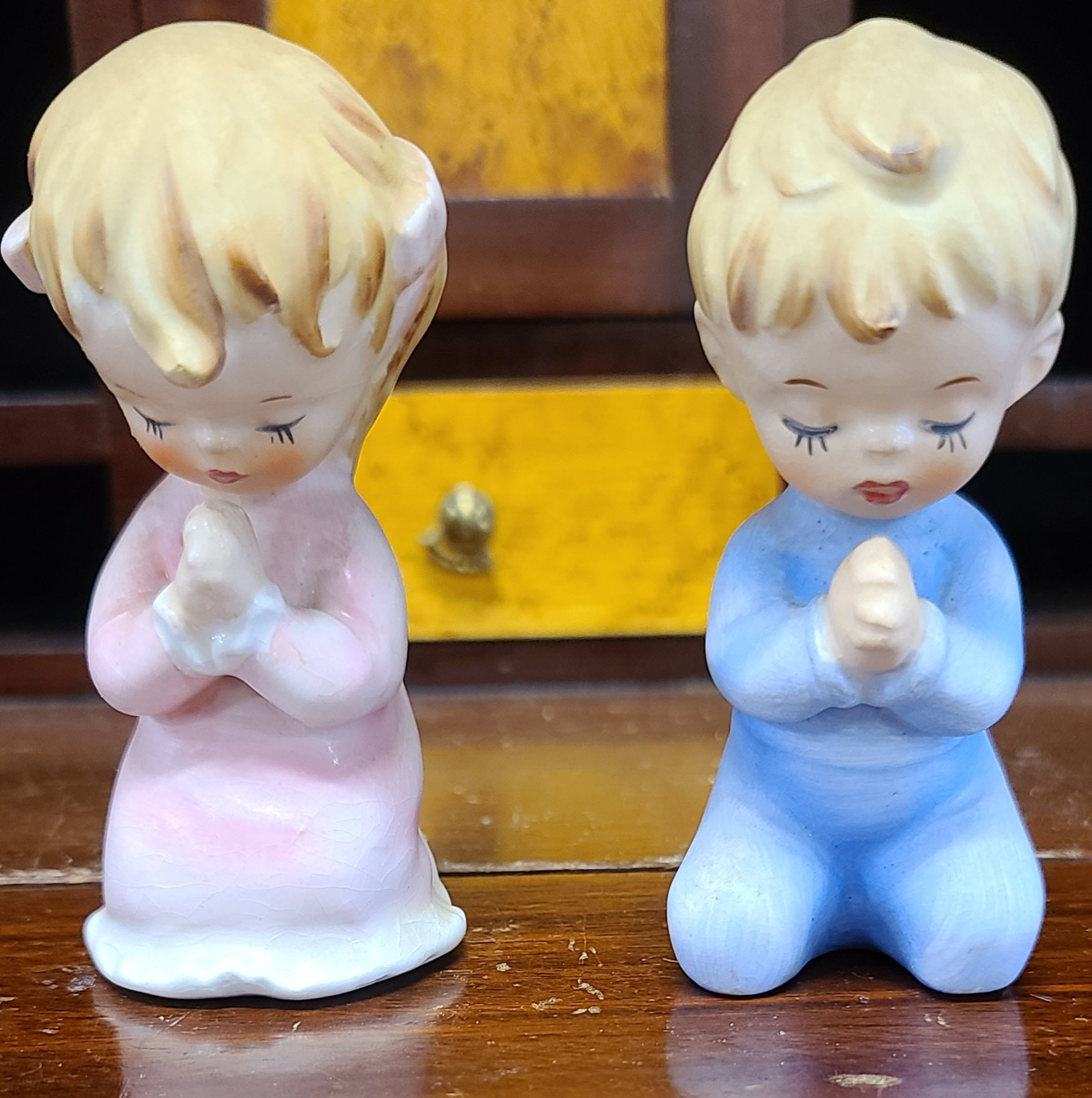 Vintage Lifton's praying baby boy and girl salt & pepper shakers