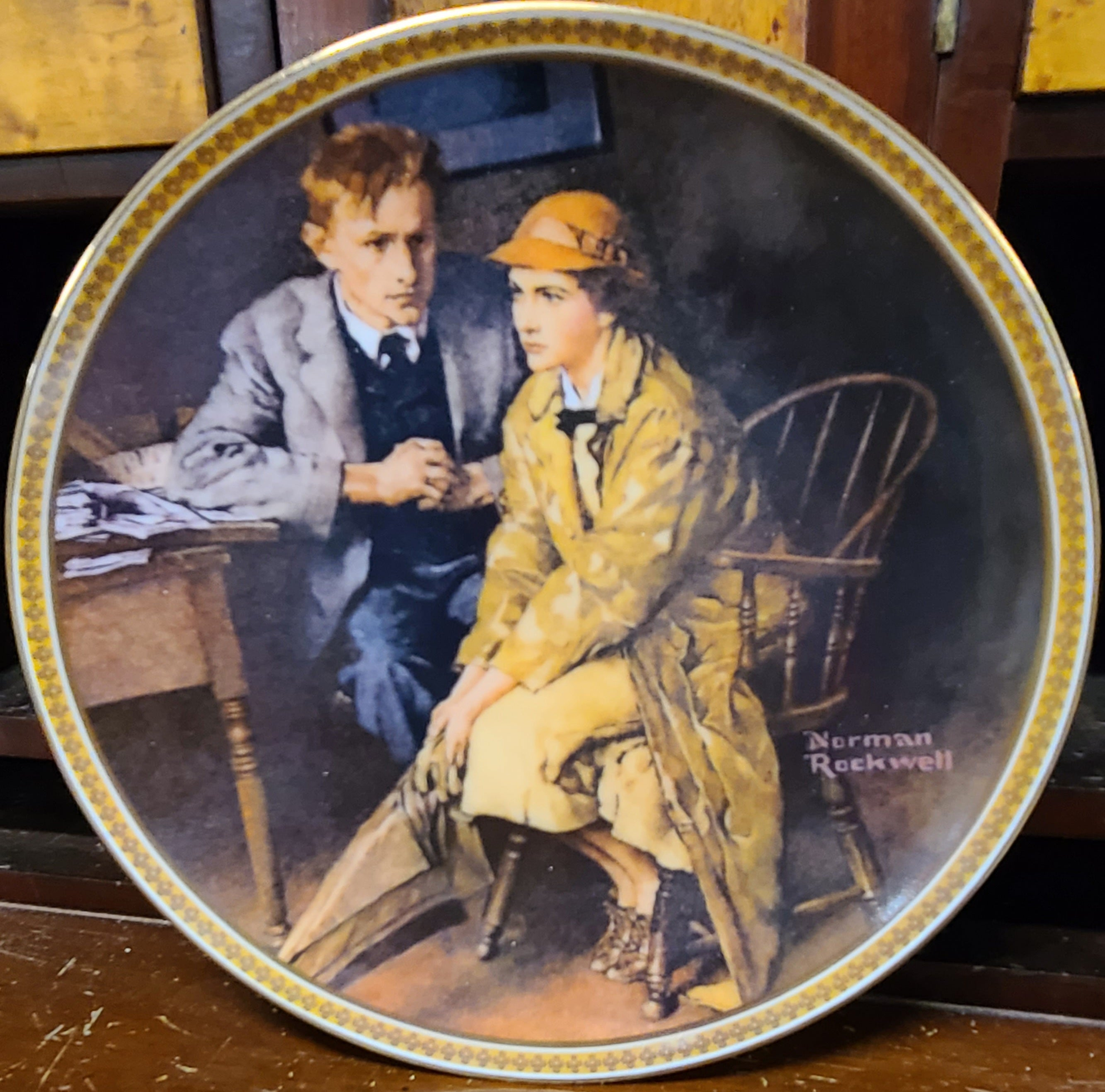Knowles Rockwell's Rediscovered Women Decorative Plate Collection, Confiding in the Den by Norman Rockwell