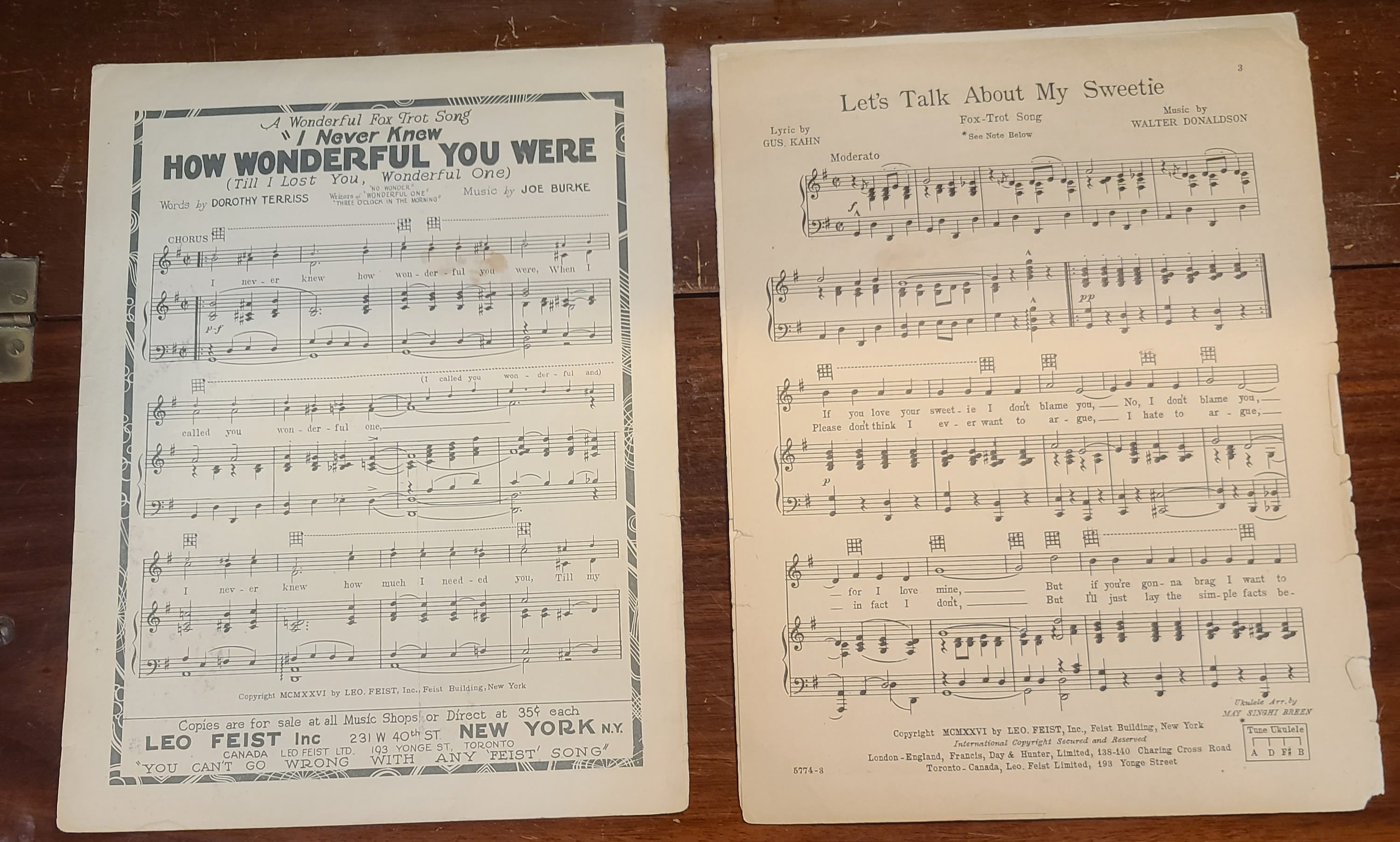 Vintage sheet music Let's Talk About My Sweetie by Kahn-Donaldson