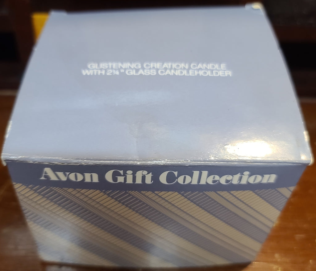 "Vintage Avon Gift Collection glistening creation 2.25"" glass candleholder"